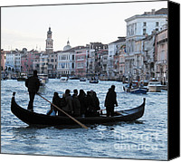 Town Pyrography Canvas Prints - Traghetto . Gran Canal. Venice Canvas Print by Bernard Jaubert