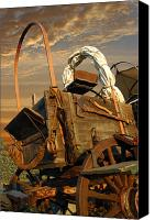 Chuck Wagon Canvas Prints - Trail Wagon Canvas Print by Robert Anschutz