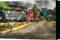 Suburbanscenes Canvas Prints - Train - Engine - Black River Western Canvas Print by Mike Savad