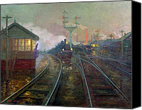 1861 Canvas Prints - Train at Night Canvas Print by Lionel Walden