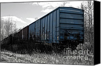 Selective Color Mixed Media Canvas Prints - Train Boxcars Canvas Print by Ms Judi