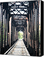 Jon Baldwin Art Canvas Prints - Train Bridge Des Moines Iowa  Canvas Print by Jon Baldwin  Art