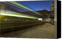 Public Transportation Canvas Prints - Train creates green streaks of light Canvas Print by Sven Brogren