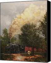 Wisconsin Artist Canvas Prints - Train Crossing Soo Line 1003 Canvas Print by Tom Shropshire