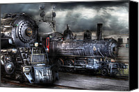 Blacks Canvas Prints - Train - Engine - 1218 - Waiting for Departure Canvas Print by Mike Savad