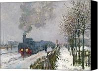 Snowy Trees Painting Canvas Prints - Train in the Snow or The Locomotive Canvas Print by Claude Monet