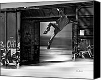 Strange Photo Canvas Prints - Train Jumping Canvas Print by Bob Orsillo