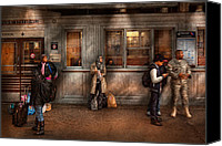 Suburbanscenes Canvas Prints - Train - Station - Waiting for the next train Canvas Print by Mike Savad