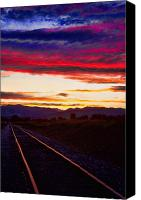 Custom Framed Art Canvas Prints - Train Track Sunset Canvas Print by James Bo Insogna
