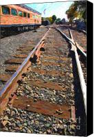 Santa Fe Digital Art Canvas Prints - Train Tracks Canvas Print by Wingsdomain Art and Photography