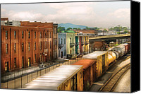 Houses Canvas Prints - Train - Yard - Train Town Canvas Print by Mike Savad