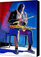 Featured Painting Canvas Prints - Trane - John Coltrane Canvas Print by David Lloyd Glover