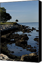 Long Island Canvas Prints - Tranquil Shoreline Of Long Island Sound Canvas Print by Todd Gipstein