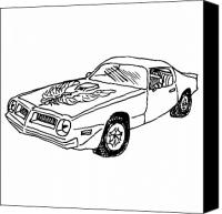 American Car Drawings Canvas Prints - Trans Am Car Canvas Print by Karl Addison