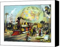 Train Painting Canvas Prints - Transcontinental Railroad Canvas Print by War Is Hell Store