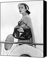 1950s Fashion Canvas Prints - Travel Calf Bag. The Top Opening Framed Canvas Print by Everett