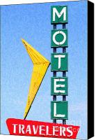 Hotels Digital Art Canvas Prints - Travelers Motel Tulsa Oklahoma Canvas Print by Wingsdomain Art and Photography