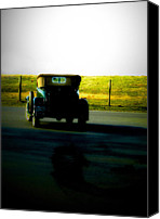 Antique Automobiles Digital Art Canvas Prints - Traveling the road back  Canvas Print by Steven  Digman