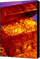 Pirate Canvas Prints - Treasure chest with gold coins Canvas Print by Garry Gay