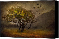 Cloud Mixed Media Canvas Prints - Tree and Birds Canvas Print by Svetlana Sewell
