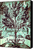 Susan Leggett Digital Art Canvas Prints - Tree and Poem Canvas Print by Susan Leggett