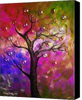Dry Painting Canvas Prints - Tree Fantasy2 Canvas Print by Ramneek Narang