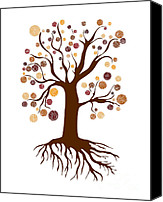 Color Drawings Canvas Prints - Tree Canvas Print by Frank Tschakert