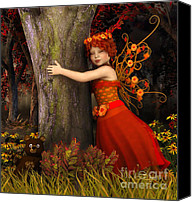 3d Graphic Canvas Prints - Tree Hug Canvas Print by Jutta Maria Pusl