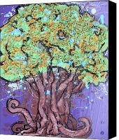 Mother Earth Canvas Prints - Tree In Three Dee Canvas Print by Genevieve Esson