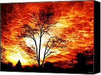 Burning Tree Canvas Prints - Tree Light Canvas Print by Ms Judi