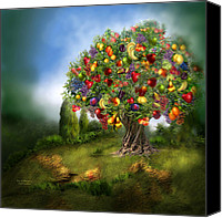 Orange Mixed Media Canvas Prints - Tree Of Abundance Canvas Print by Carol Cavalaris