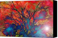 Ghosts Digital Art Canvas Prints - Tree of Ghosts Canvas Print by Linnea Tober
