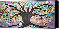 Colorful Print Canvas Prints - Tree Of Life And Bird Canvas Print by Karla Gerard