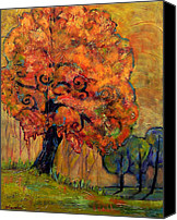 Fall Leaves Canvas Prints - Tree of Wisdom Canvas Print by Blenda Tyvoll