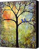 Birds Canvas Prints - Tree Painting Art - Sunshine Canvas Print by Blenda Tyvoll