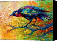 Ravens Canvas Prints - Tree Talk - Crow Canvas Print by Marion Rose