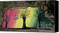 Forest Sculpture Canvas Prints - Tree with Lovebirds Canvas Print by Monika Dickson