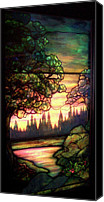 Coloured Glass Glass Art Canvas Prints - Trees Stained Glass Window Canvas Print by Thomas Woolworth
