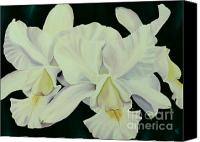 Macro Orchids Painting Canvas Prints - Tres Amigos Canvas Print by Julie Pflanzer