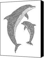 Tropical Beach Drawings Canvas Prints - Tribal Bottle Nose Dolphin and Calf Canvas Print by Carol Lynne