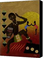 Tribal Art Painting Canvas Prints - Tribal Heat Canvas Print by Gordon Beck