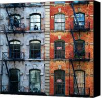 Nyc Fire Escapes Canvas Prints - Tribeca Escapes Canvas Print by Cornelis Verwaal