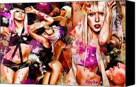 Little Canvas Prints - Tribute to Lady GaGa Canvas Print by Alex Martoni