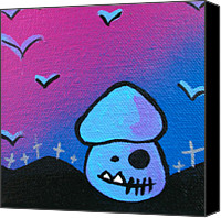 Apocalypse Mixed Media Canvas Prints - Tricky Zombie Mushroom Canvas Print by Jera Sky