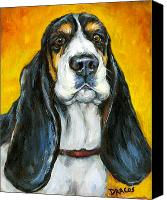 Hound Canvas Prints - Tricolored Basset Hound on Gold Canvas Print by Dottie Dracos