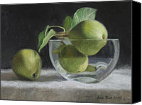 Top Canvas Prints - Trio of Pears Canvas Print by Anna Bain