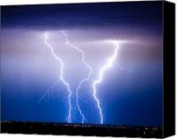 "\""striking Photography\\\"" Canvas Prints - Triple Lightning Canvas Print by James Bo Insogna"