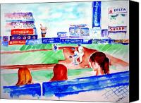 Shea Stadium Painting Canvas Prints - Triple Play at Shea Canvas Print by Sandy Ryan