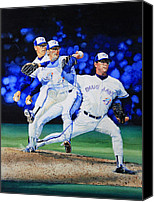 Baseball Art Canvas Prints - Triple Play Canvas Print by Hanne Lore Koehler