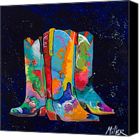 Contemporary Cowboy Canvas Prints - Triple Threat Canvas Print by Tracy Miller